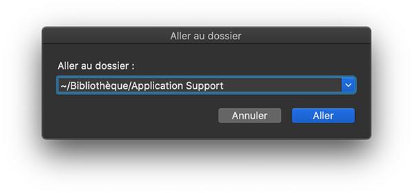 Aller au dossier /Bibliothèque/Application Support