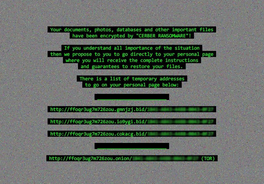 Fond d'écran établi par le virus Cerber