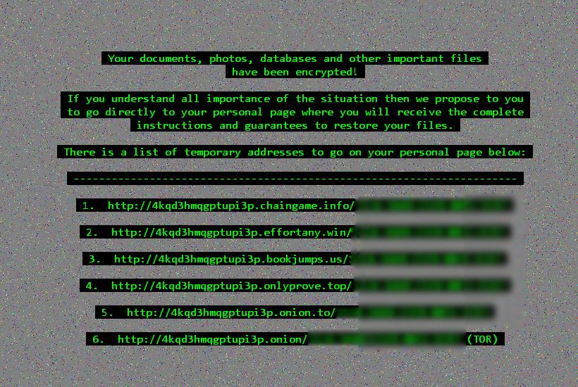 Fond d'écran établi par le virus Cerber2