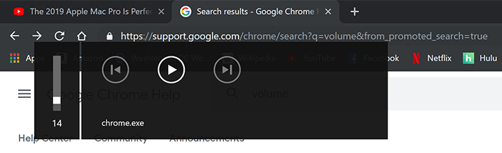 Chrome.exe volume popup dans Google Chrome