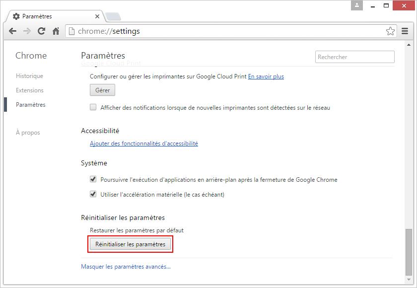 Chrome reinitialiser les parametres