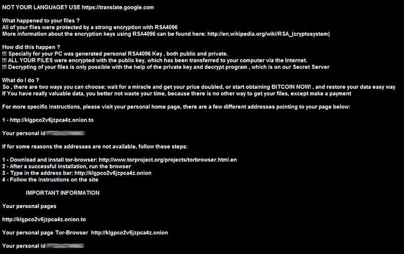 Fond d'écran établi par le virus .crypt