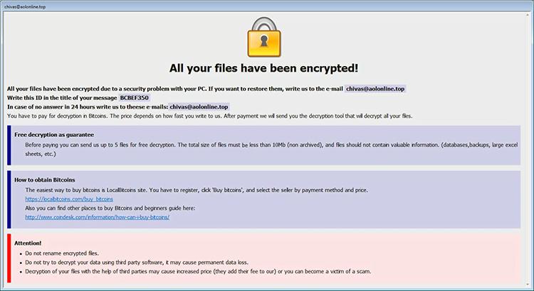 Info.hta note de rançon par Arena ransomware