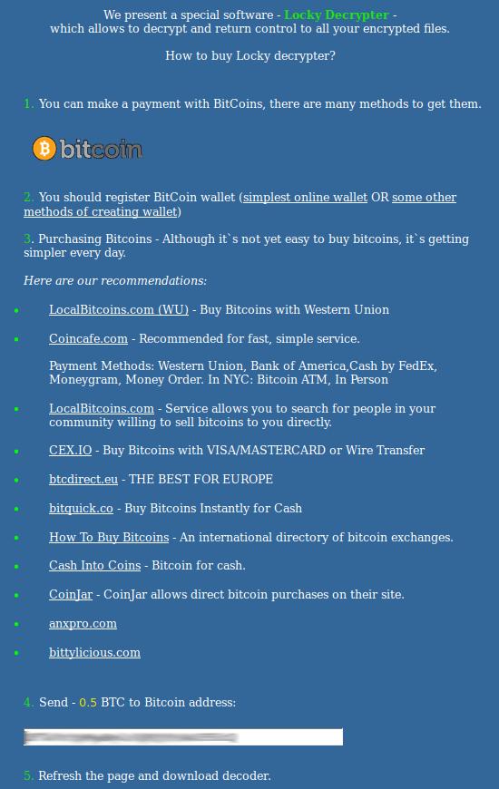 Guide d'achat du Locky Decrypter personnalisé par les arnaqueurs