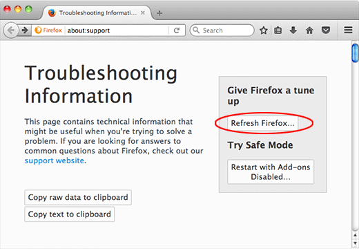 Mac Firefox refresh
