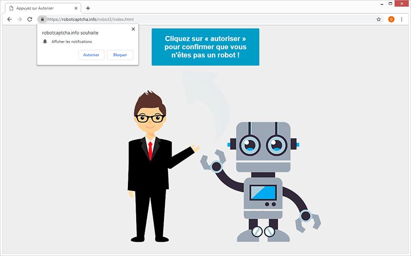 Le virus Robot Captcha provoque des redirections de navigateur vers robotcaptcha.info