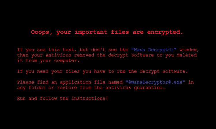 Fond d'écran établi par le virus WannaCry